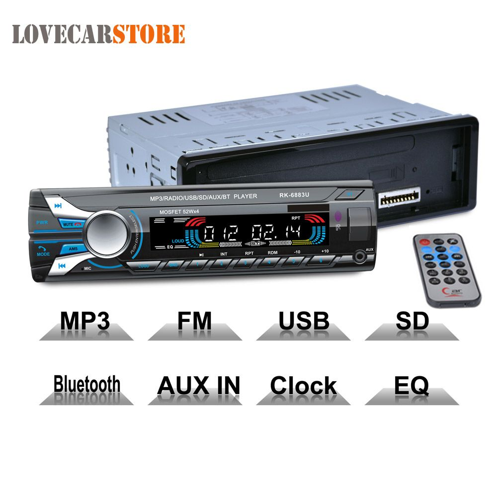 12V 1 Din Bluetooth Auto Car Radio Hands free Stereo Audio MP3 Player Front Detachable Panel Support SD FM AUX USB with Remote