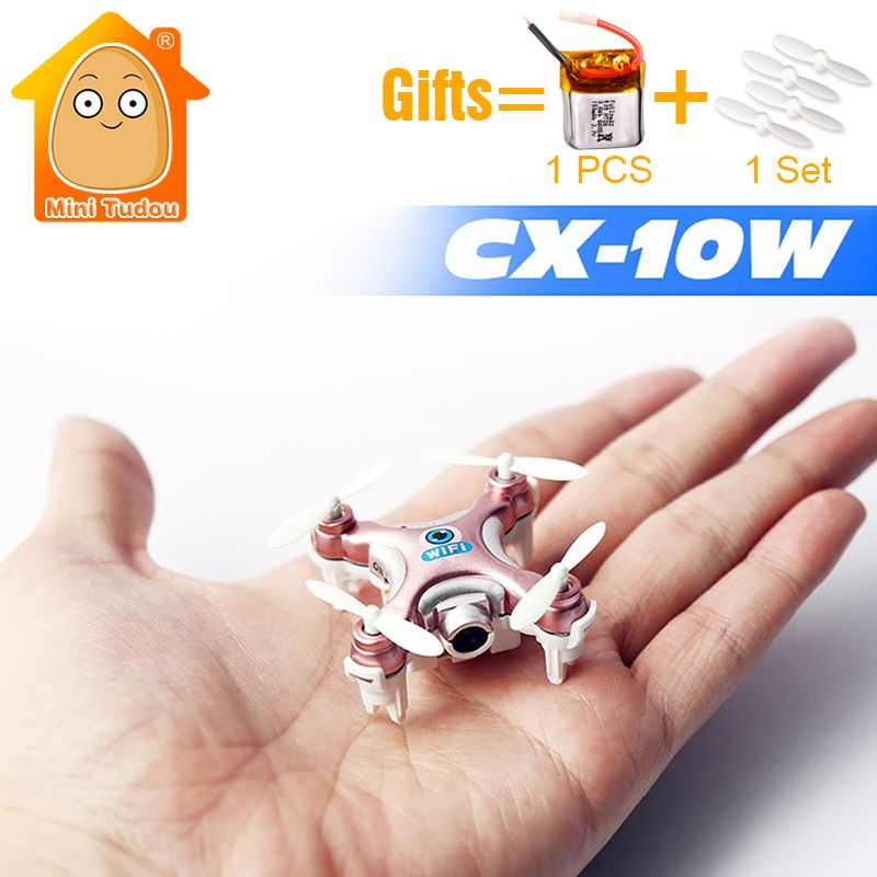 MiniTudou 3 Colors Mini Remote Control Helicopter CX-10W CX10W CX-10W-TX RC Quadrocopter With Camera Mini Drones Dron FPV