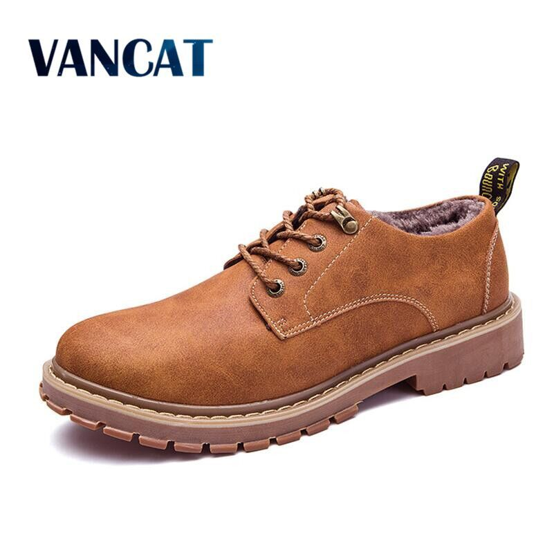 Vancat осень-зима Обувь на теплом меху мужской Настоящая кожа повседневная обувь для Для мужчин взрослых 2017 бренд работа Высокое качество обув...