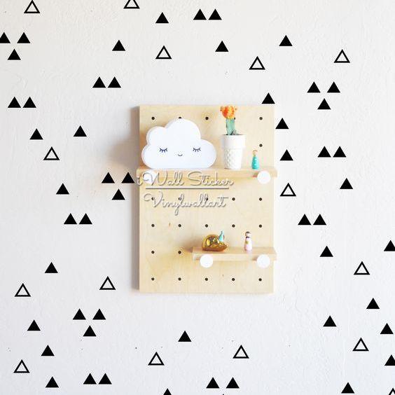 Cute Triangles Wall Sticker Baby Nursery Triangles Wall Decal Hollow Triangles Wall Decor Easy Wall Art Cut Vinyl P41