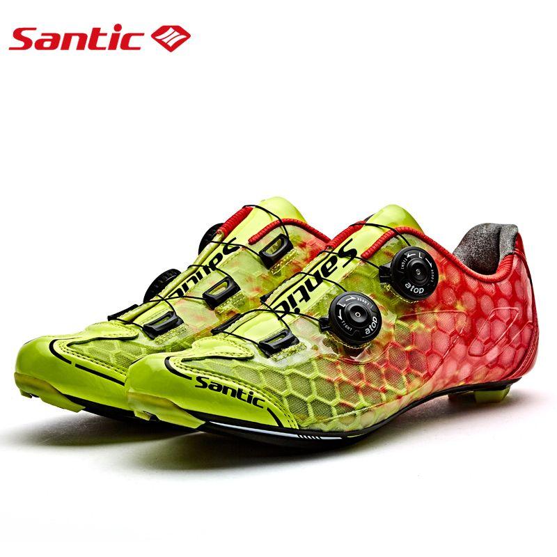 SANTIC Radfahren Pro Rennradschuh MTB Atmungs Kohlefaser Schuhe Für Fahrrad Athletisch auto-verriegelung Racing Team Turnschuhe 3 farben