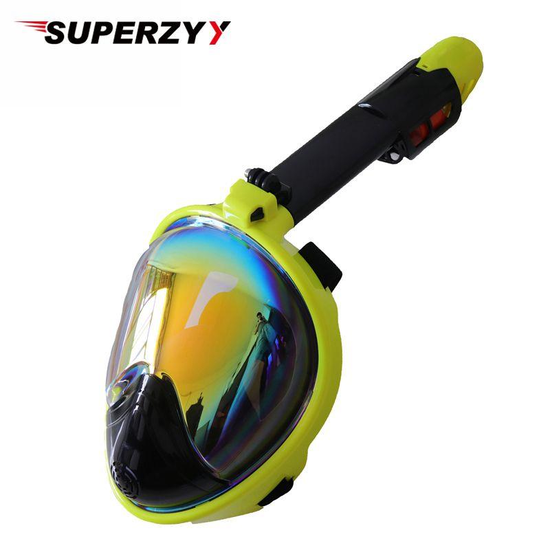 2018 nouveau masque de plongée plaqué masque de plongée sous-marine Anti-buée masque de plongée en apnée visage complet femmes hommes natation tuba équipement de plongée