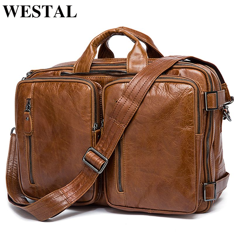WESTAL Men's Briefcase Tote men messenger bag travel laptop bag for men document <font><b>business</b></font> Leather briefcase male Genuine leather