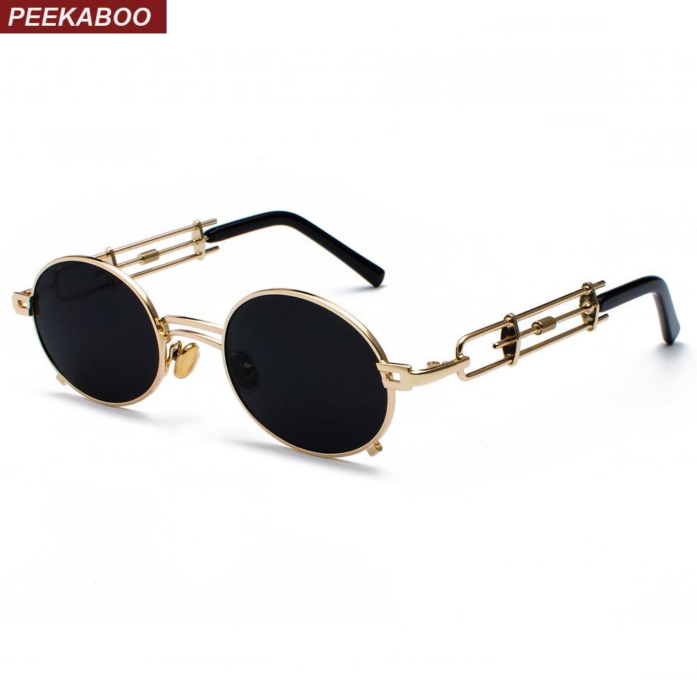 Peekaboo rétro steampunk lunettes de soleil hommes rond vintage 2019 métal cadre or noir ovale lunettes de soleil pour femmes rouge mâle cadeau