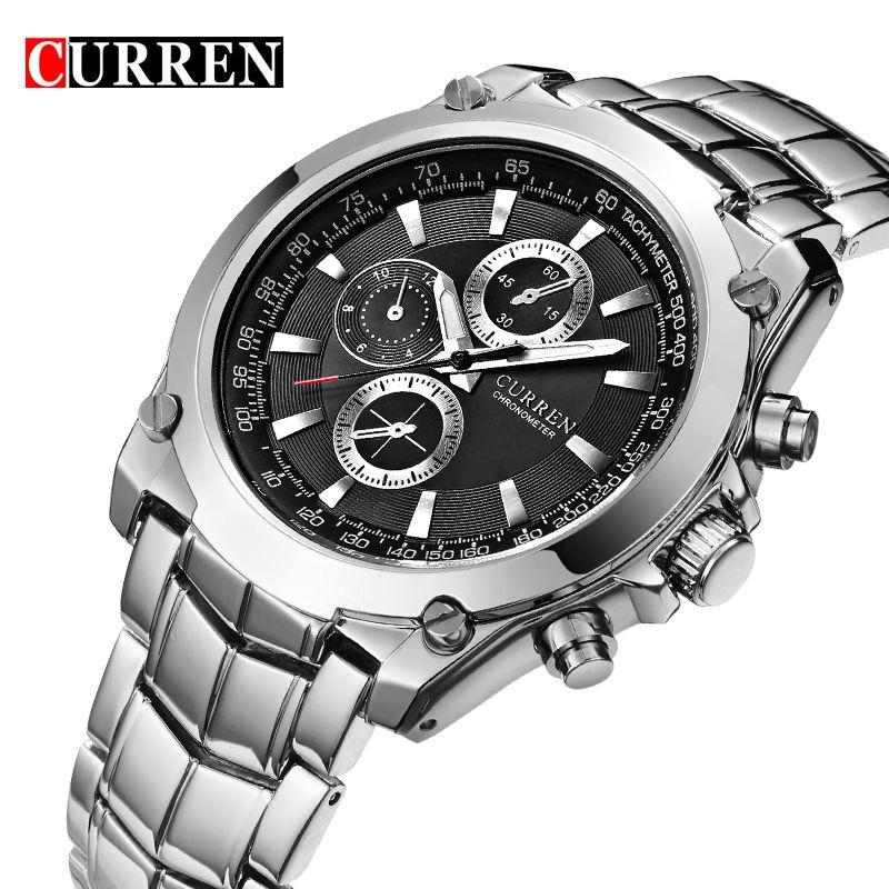NEW CURREN Luxusmarke Männer Voller Stahl Business Armbanduhren Mann Lässig Wasserdichte Uhr Quarz Uhren relogio masculino 8025