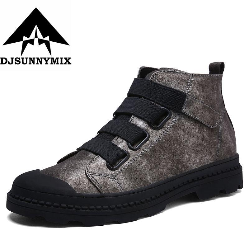 Djsunnymix Винтажные ботинки «Мартин» в британском стиле из микрофибры Мужские ботинки Водонепроницаемый осень Зимние ботильоны Для Мужчин's Об...