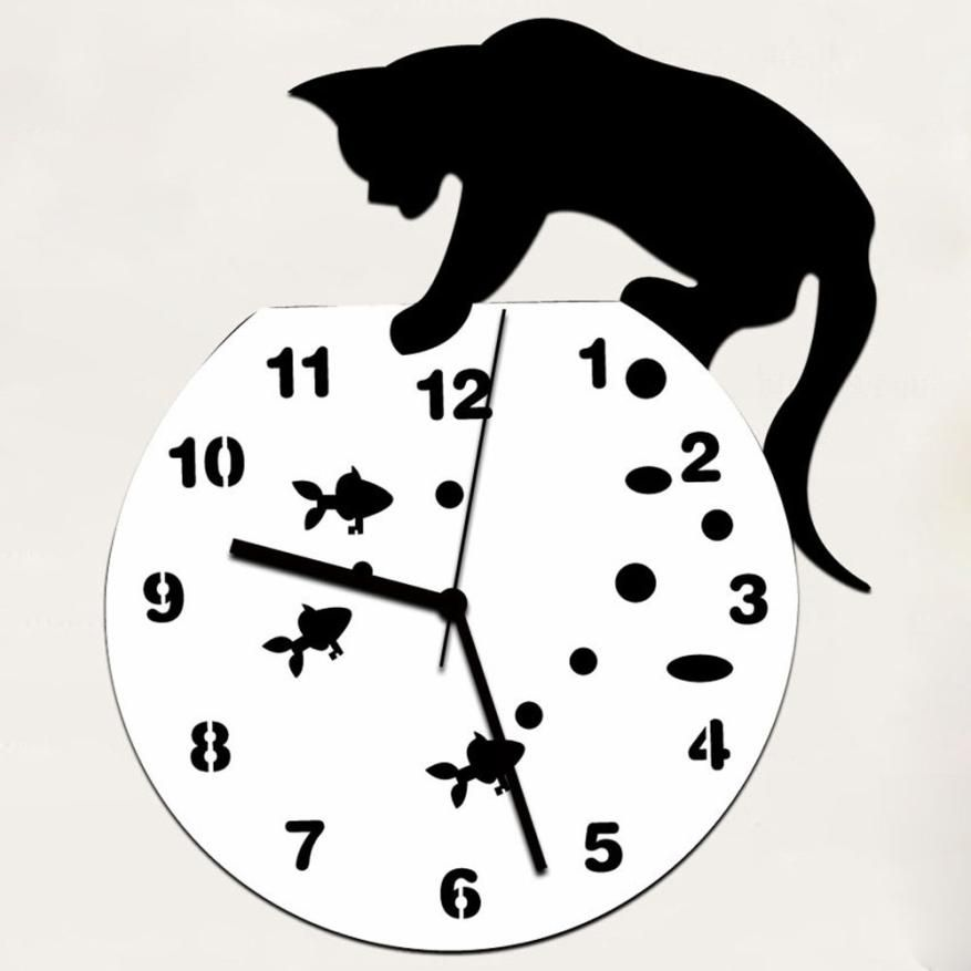 JY 19 Mosunx Business 2016 Hot Selling Naughty Cat Acrylic Clock Wall Clock <font><b>Modern</b></font> Design Home Decor Watch Wall Sticker