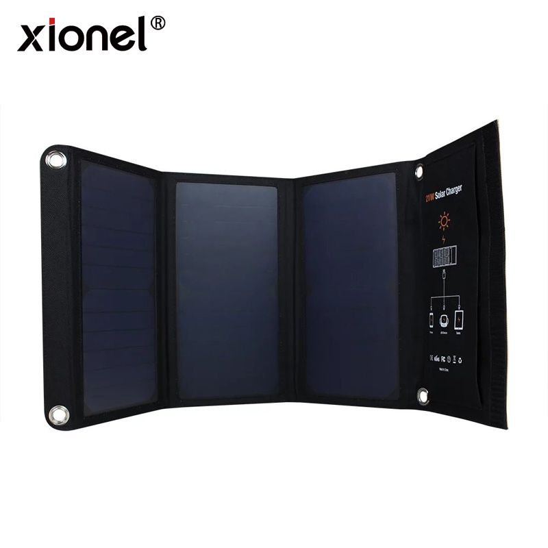 Xionel 21W Foldable Solar Cells Charger Backpack Sunpower Solar Panel Charger with Dual USB Port for Mobile Phone Solar Battery