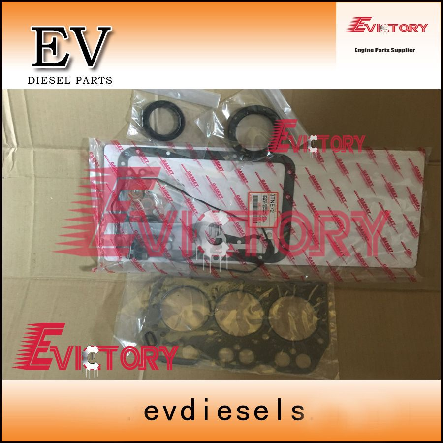 For Yanmar 3D72 3TNE72 3TNV72 3TNA72 full gasket kit + piston ring +crankshaft & con rod bearing