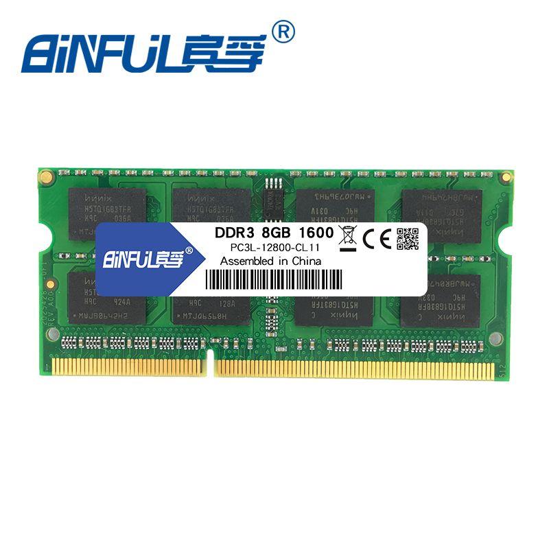 Binful 1600Mzh 4 GB 8G DDR3L PC3L-12800 1.35 v 8 Mémoire Ram Memoria pour Ordinateur portable Garantie À Vie