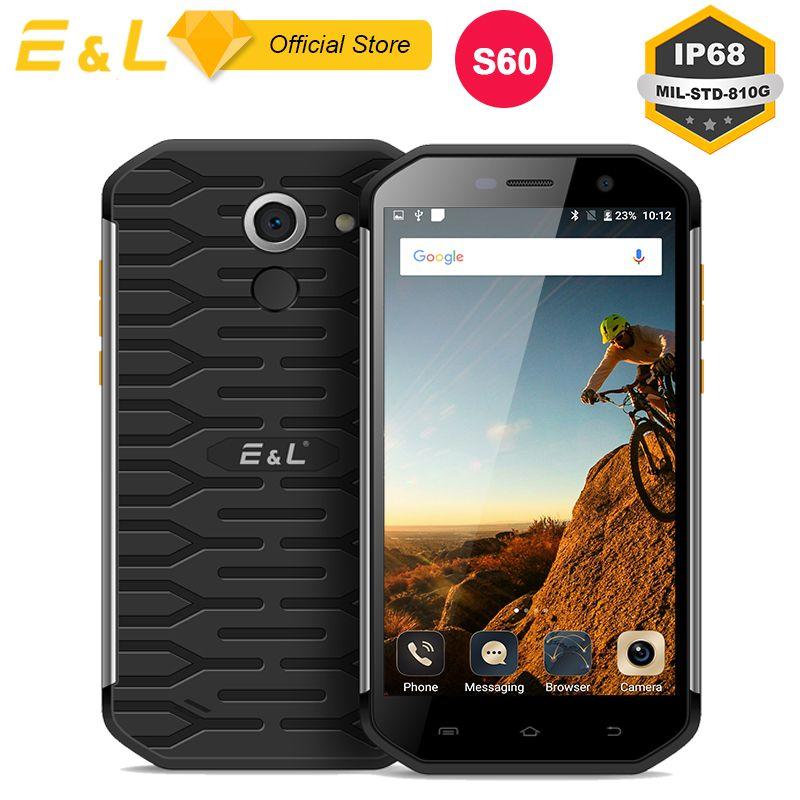 E&L S60 Waterproof Mobile Phone IP68 Shockproof 5.5 Inch FHD Rugged Smartphone Octa Core 3GB RAM 64GB ROM Dual SIM Camera 8+13MP
