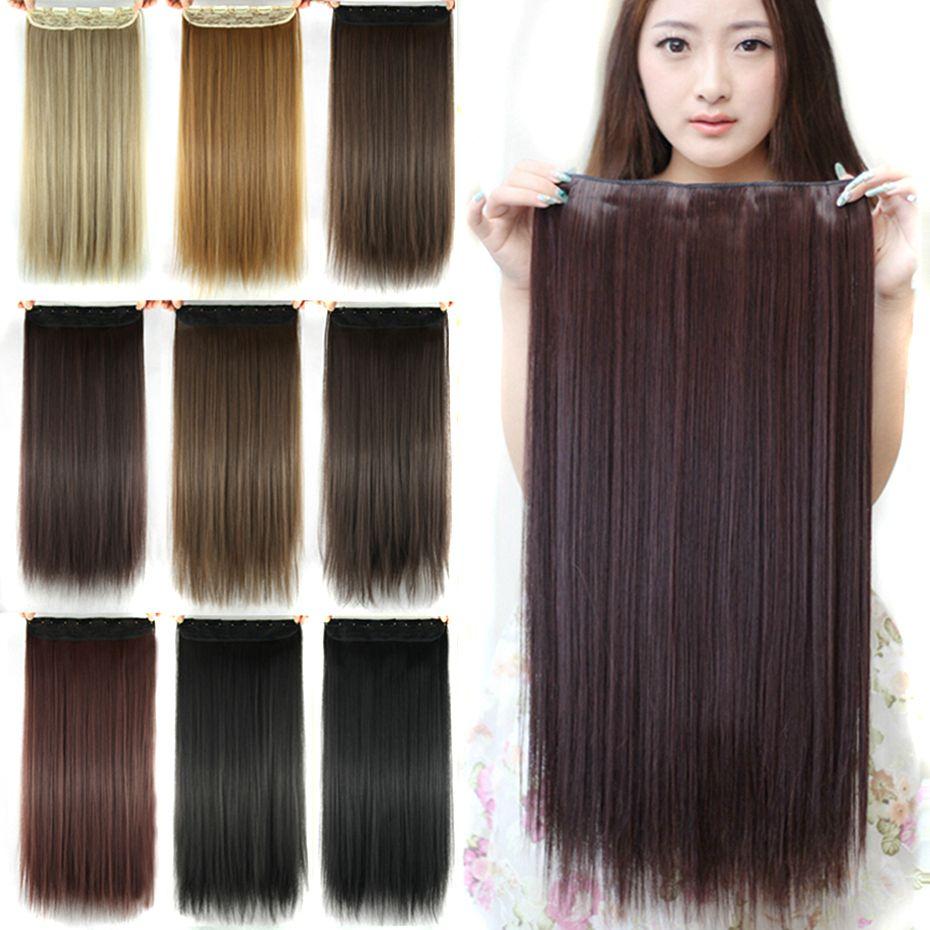 Soowee 60 cm Longue Ligne Droite Femmes Clip en Extensions de Cheveux Noir Brun Haute Tempreture Synthétique Morceau De Cheveux