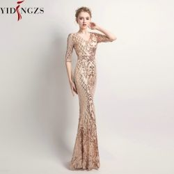 YIDINGZS Women's Elegant Mermaid Gold Sequins Dress Half Sleeve Evening Party Dress YD083