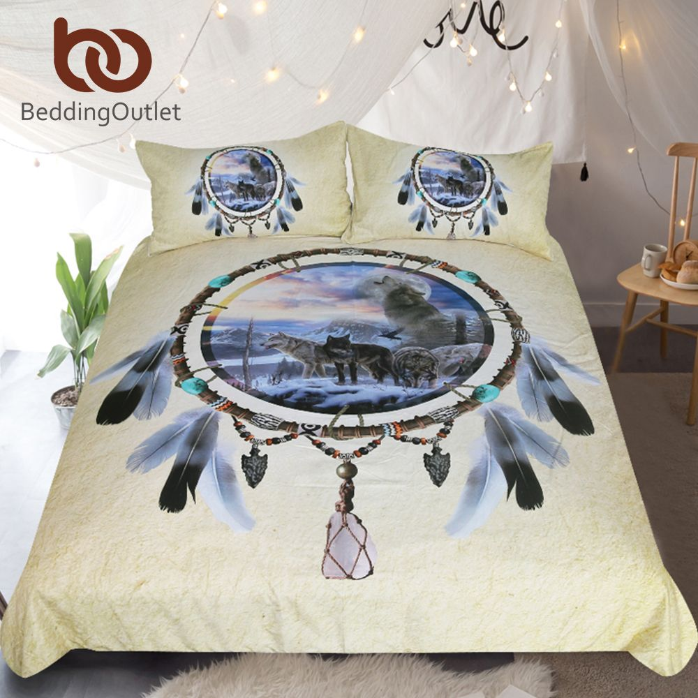 BeddingOutlet Dreamcatcher Bedding Set Queen 3D Wolf Printed Duvet Cover Wolves Bedclothes 3pcs Feathers Tribal Home Textiles