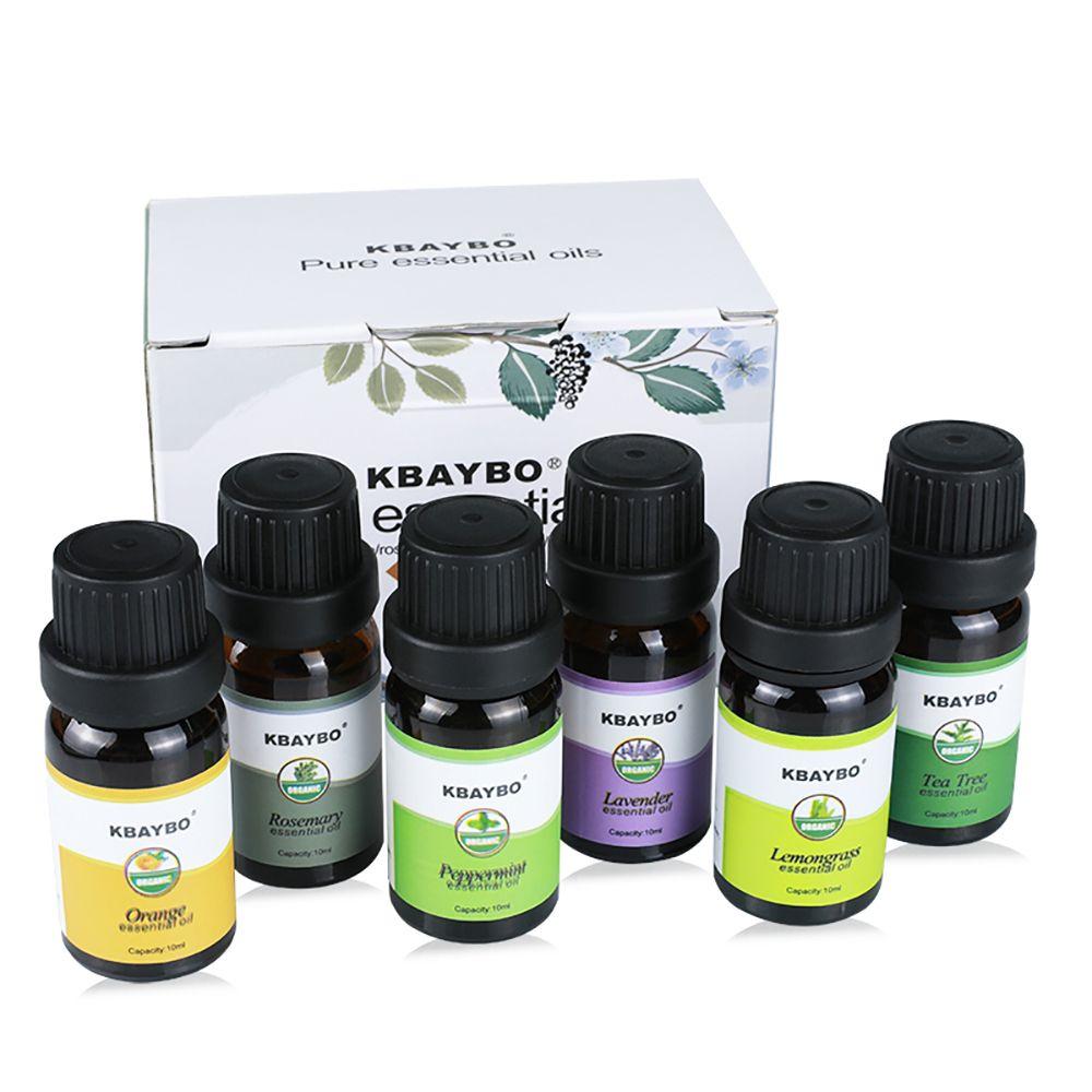 Huile essentielle pour Diffuseur Aromathérapie Humidificateur D'huile 6 Sortes Parfum de Romarin Orange Lavande Menthe Citronnelle Thé