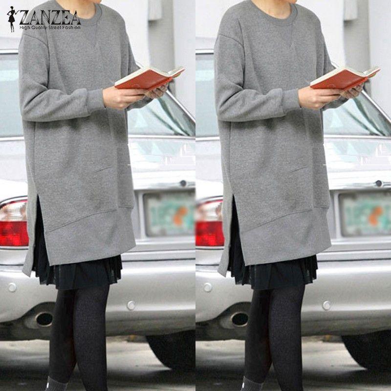 ZANZEA Women 2016 Autumn Fleece Hoodies Sweatshirts O Neck Long Sleeve Asymmetrical Hem Split Casual Loose Solid Pullovers Tops