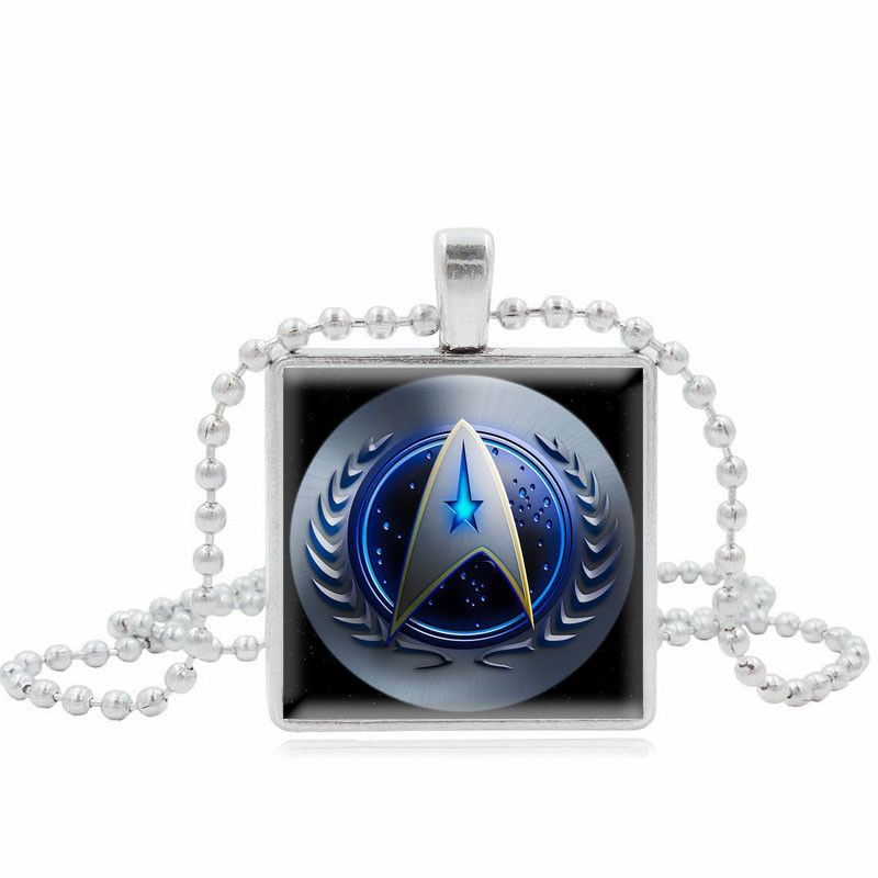 XUSHUI movie jewelry Star Trek Square Glass Cabochon necklaces & pendants fashion Jewelry Silver Beads Chain Necklace Women