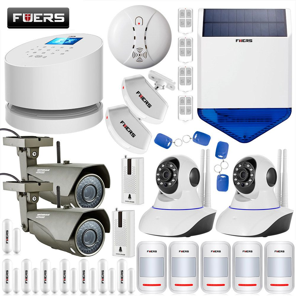 FUERS GSM PSTN Wifi Systems Home Security Smart Alarm System 1080P WIFI External Indoor IP Camera Solar Strobe Siren