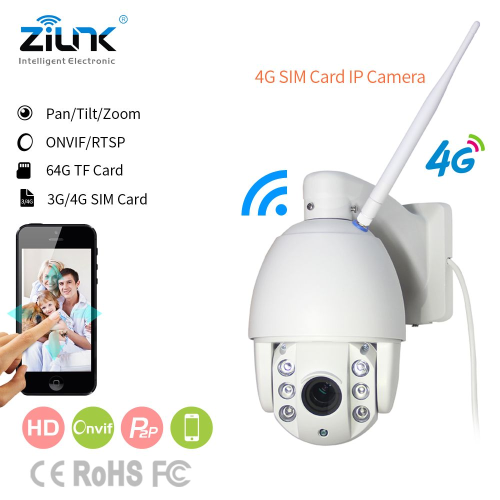 ZILNK 3G/4G/WIFI IP Camera Speed Dome Camera PTZ Full HD 1080P P2P Network 2.7-13.5mm Zoom Lens IR Night Vision Outdoor CamHi