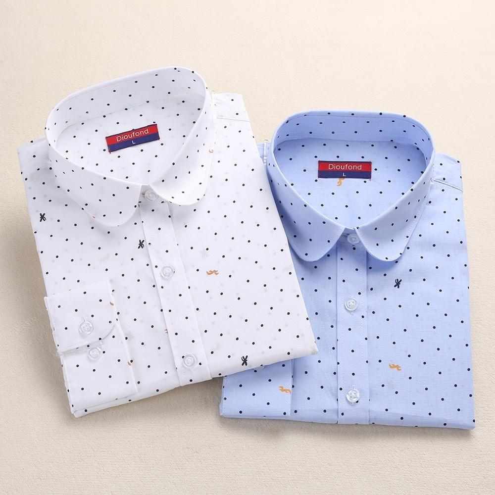2019 Hot nouveau femmes à manches longues Blouses à pois chemises femmes d'été hauts blanc Dot Blouse femmes bouton Chemise Femme grande taille
