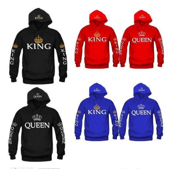 BKLD 2017 Autumn 3Colors King Queen Printed Hoodies Women Men Sweatshirt Lovers <font><b>couples</b></font> hoodie Hooded sweatshirt Casual Pullover