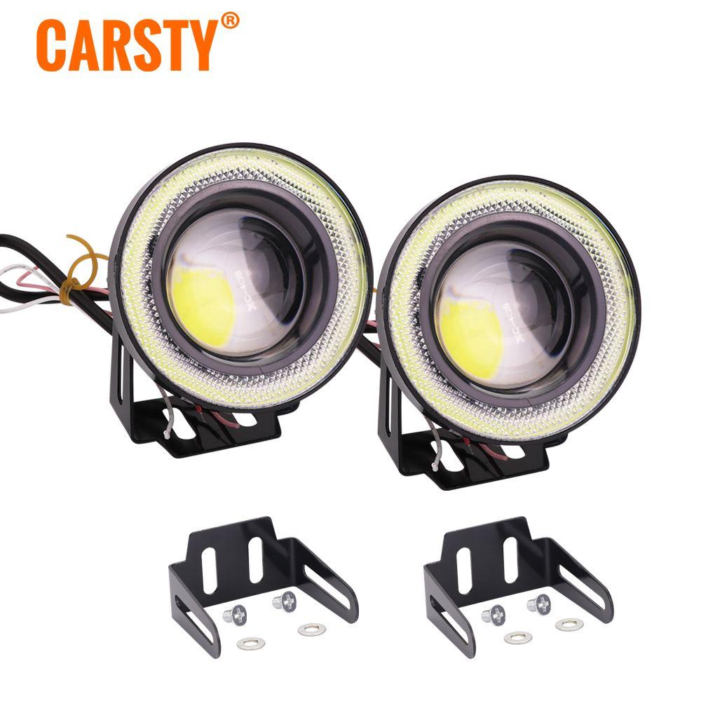 Carsty 2pcs Universal Waterproof LED Fog Light With Lens Halo Angel Eyes Rings COB RGB White 12V For Car SUV Off Road Fog Lamp