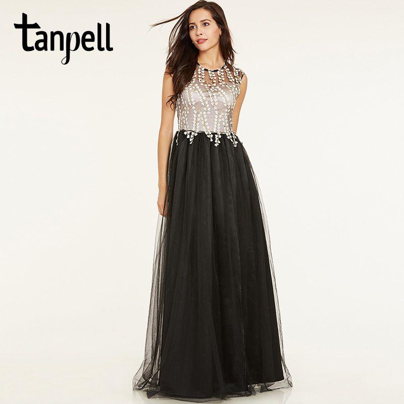 Tanpell long a line evening dress black cap sleeves floor length gown cheap women scoop neck appliques formal evening dresses