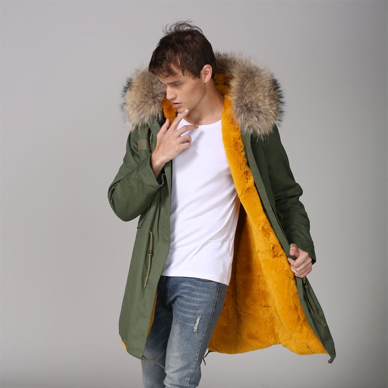 Yellow Thickness faux fur lined Mens Casual Winter Warmbody Wear With Natural Raccoon fur Hoodies