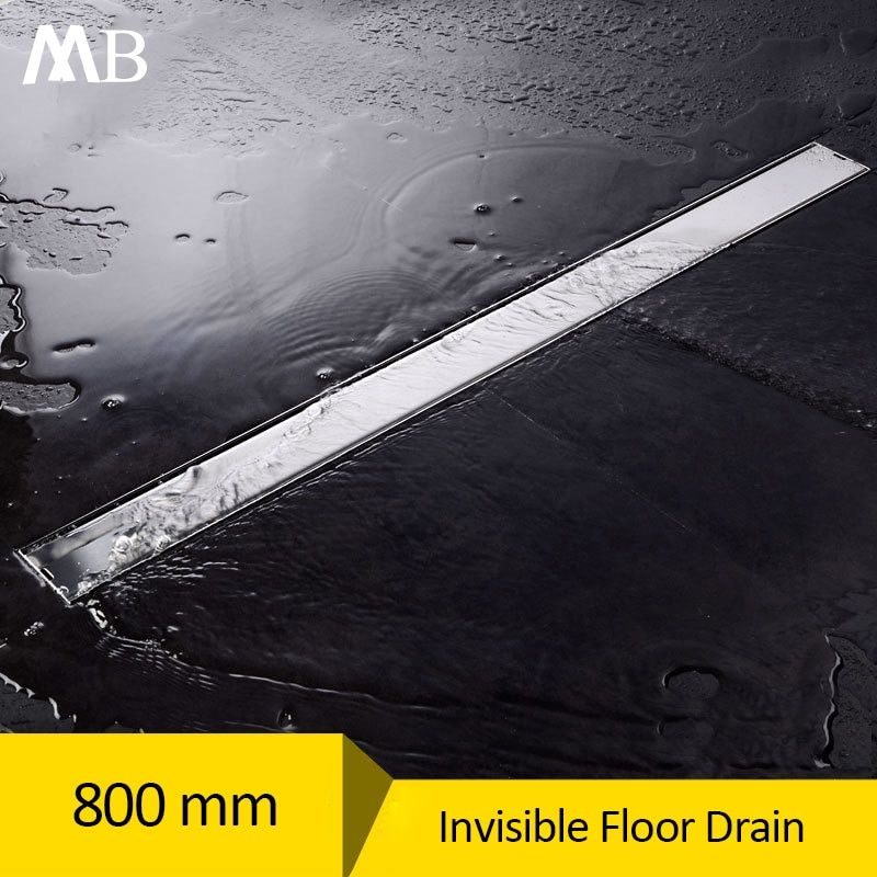 800mm Square 304 Stainless Steel Long Linear Floor Drains Grate Bathroom Shower Drain Ground Waste Water Rapid Drainage Brushed