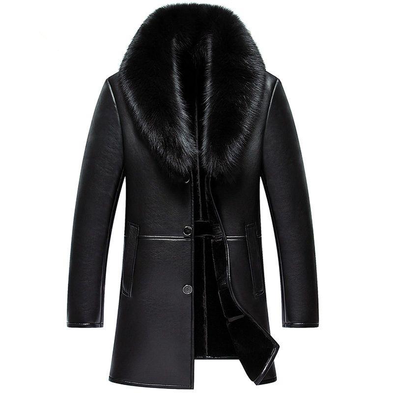 Winter Große Fuchs Pelz Lange PU Leder Plus Größe Warm Mit Samt Dicken Einfarbigen Jacke Pelz Parka Männer Jacke cuir Homme MZ1957