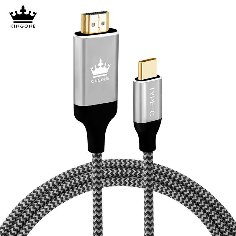 Kingone USB C HDMI Câble 4 K 60 HZ 1.8 M Type c Mâle À HDMI Adaptateur Pour Macbook Sumsung S8 Huawei Compagnon 10 Pro Thunderbolt 3 câble