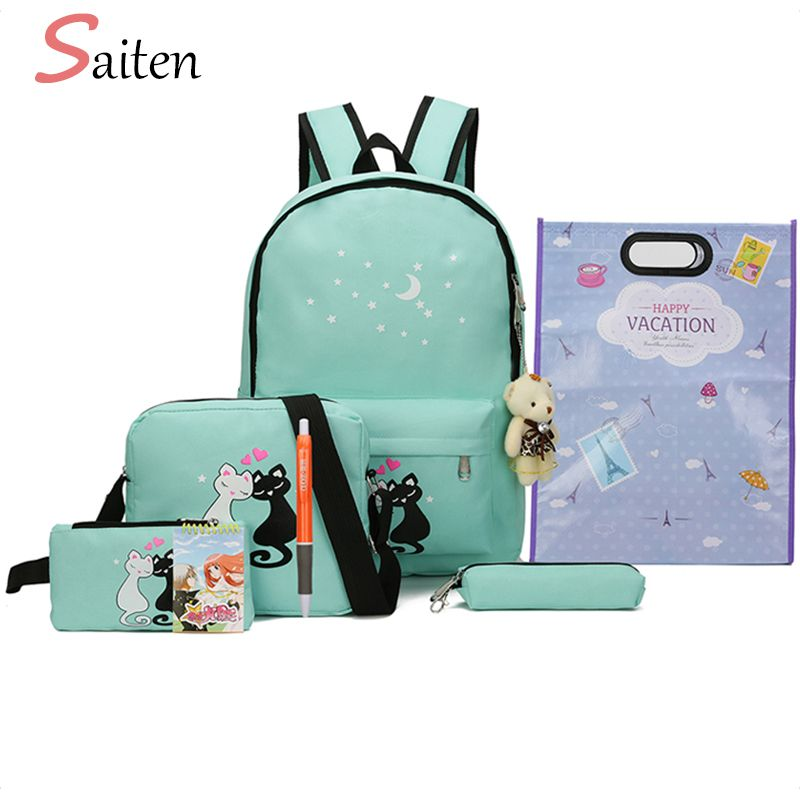 8Pcs set Canvas Women Backpacks Female Schoolbag Cute Cat Printing School Bag For Teenager Girls Solid Student Backpack Moclila