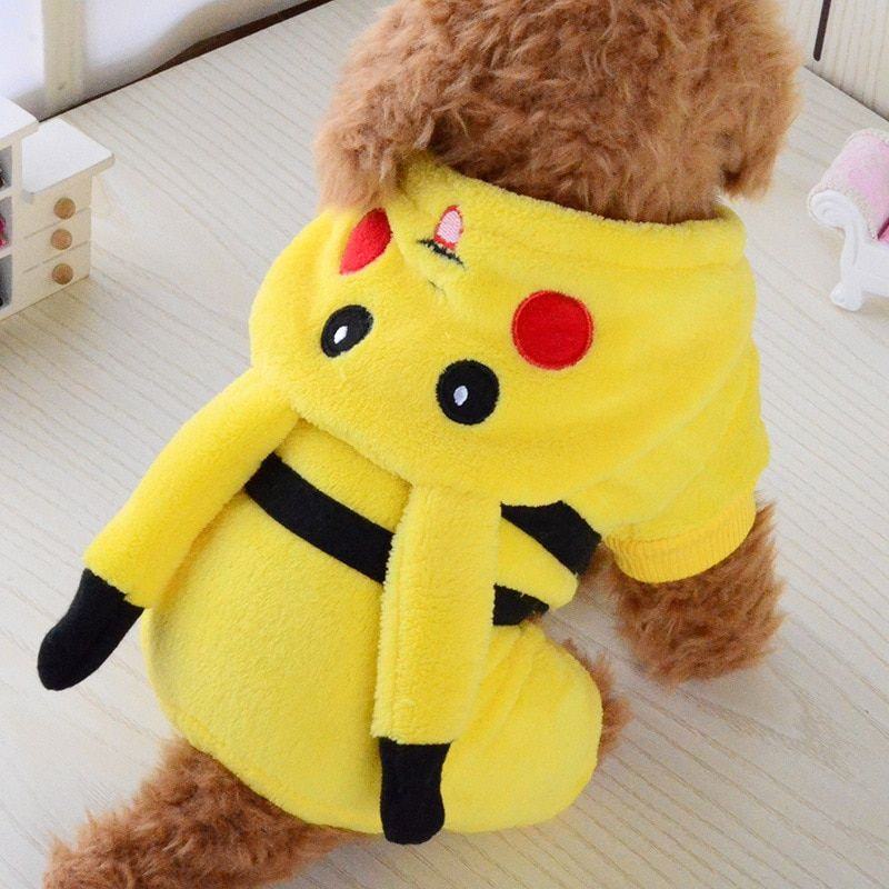 Fashion Arrival Dog Clothes Cute Cartoon Pikachu Design Cosplay Pets Costume Dog Clothing For Cats Puppy Hoodie Winter Warm Coat