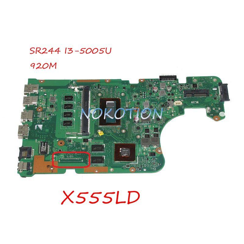 NOKOTION laptop motherboard For asus X555LD Main board REV 3.6 SR244 I3-5005U GeForce 920M full works