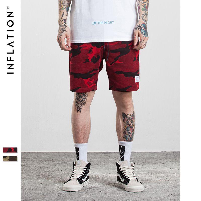 Инфляции 2017 Для Мужчин's hightstreet Рубашки домашние хлопок, бамбук Для мужчин лето Шорты для женщин Красный Камуфляж хип-хоп Шорты для женщин