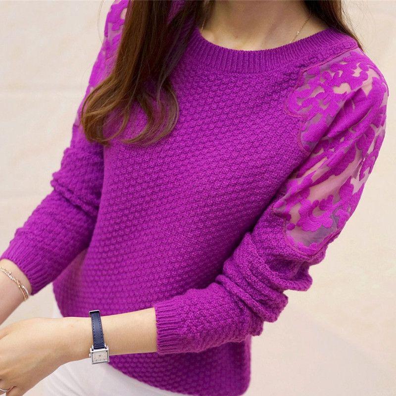 2017 nouveau hiver doux coréen dames dentelle manchette slim slim col roulé chandail tricot femme support