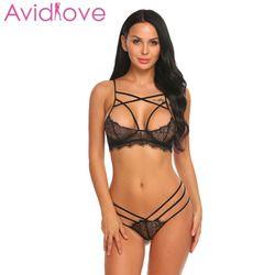 Avidlove sujetador abierto entrepierna ropa interior erótica Set camisones de encaje Sexy sujetador mujer ropa interior y exótico sujetador establece productos del sexo