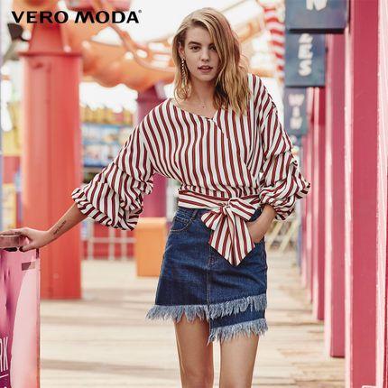 Vero Moda <font><b>Stripe</b></font> Frilled 3/4 Sleeve V-neck Chiffon Shirt 318258509