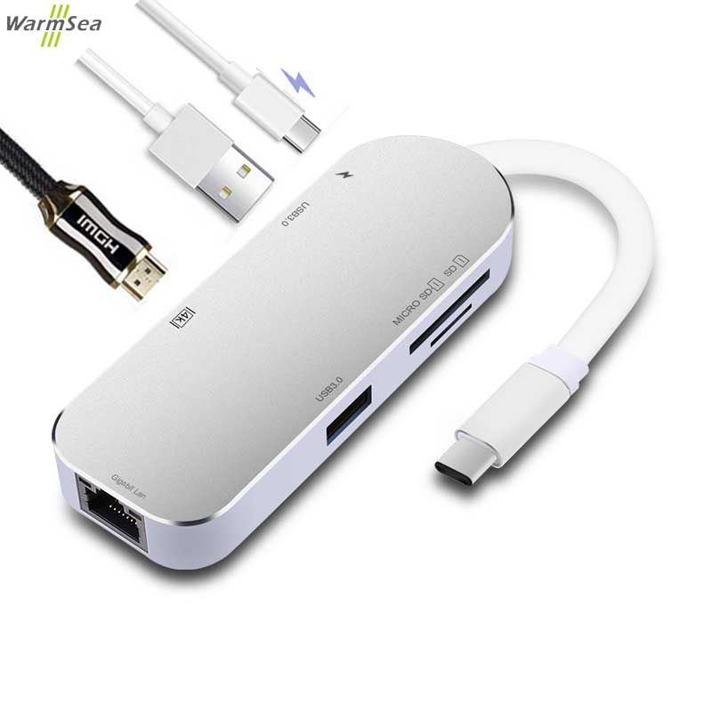 USB C HUB Adapter Dongle Dock with Type C PD Power 4K Video HDMI SD Card Reader Gigabit Ethernet Adapter USB-C Type-C 3.0 HUB