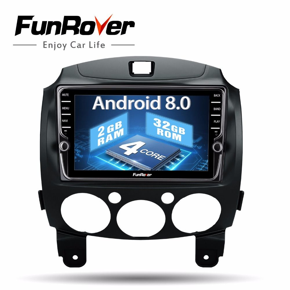 Funrover IPS Android8.0 2 din car dvd auto radio tape recorder For Mazda 2 2007-2014 gps usb Wifi Bluetooth Navigation RDS maps
