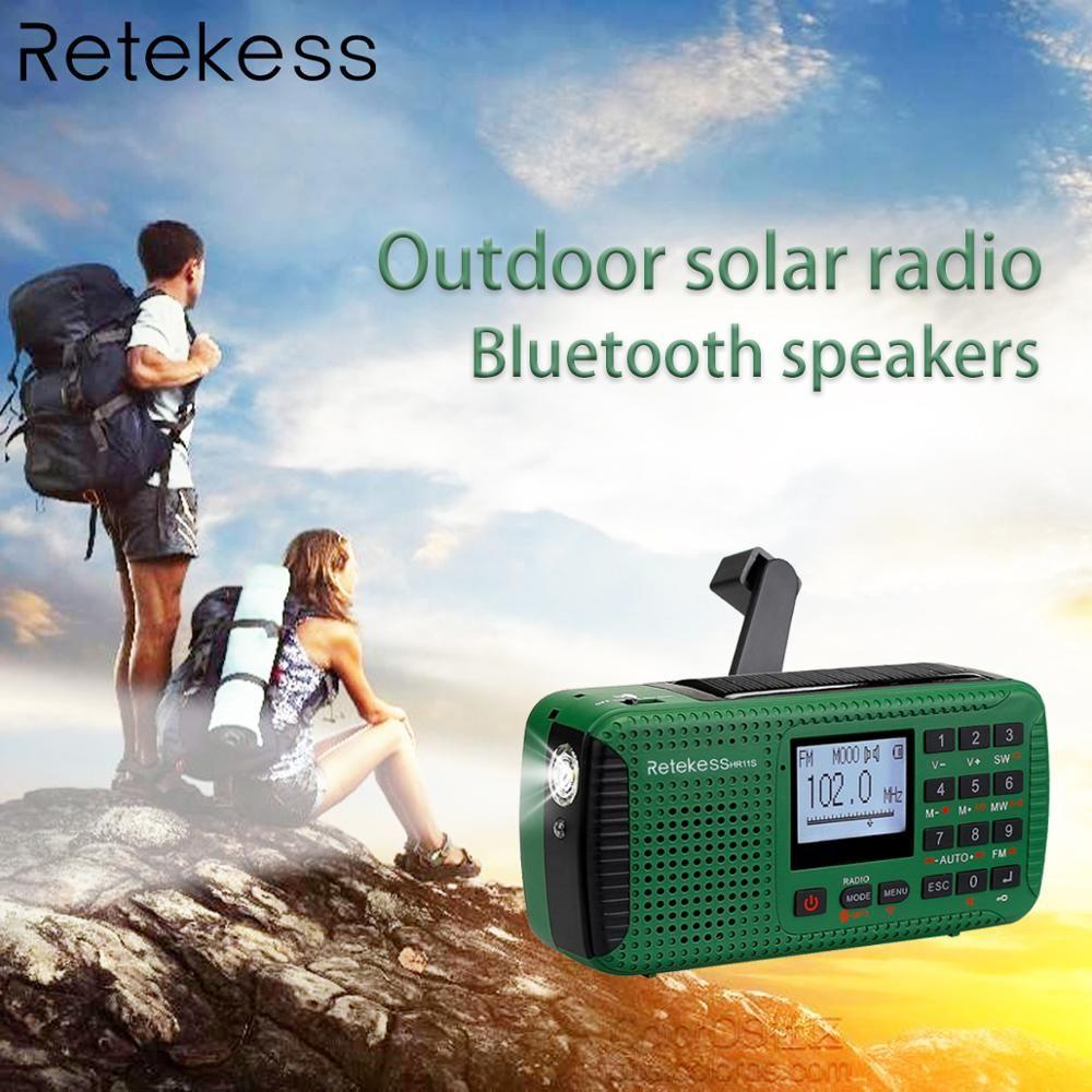 RETEKESS HR11S haut-parleur Bluetooth Portable récepteur Radio d'urgence solaire FM MW SW avec lecteur MP3 enregistreur numérique