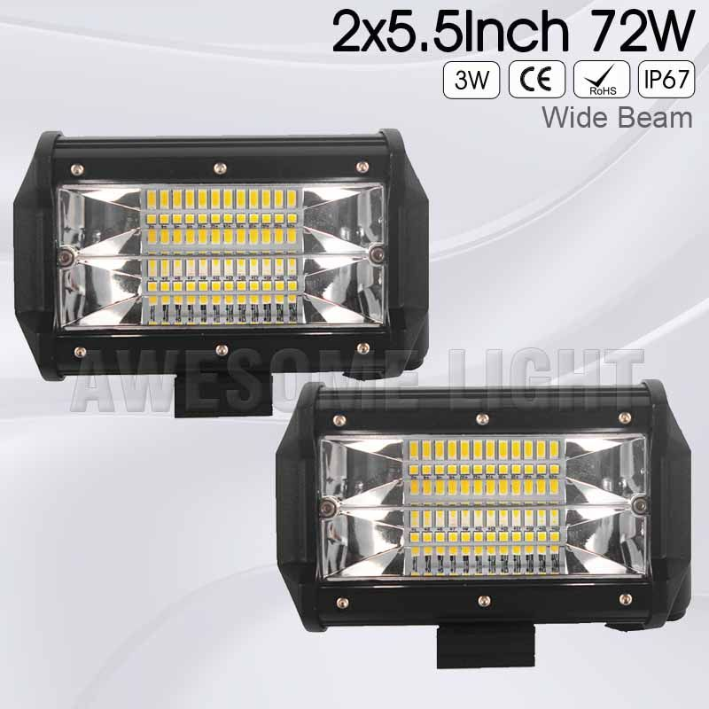 OuSome FREE TAX 2 pack 5.5 inch 72w new wide beam flood beam waterproof 4x4 tractor car truck 12v 24v offroad LED work light