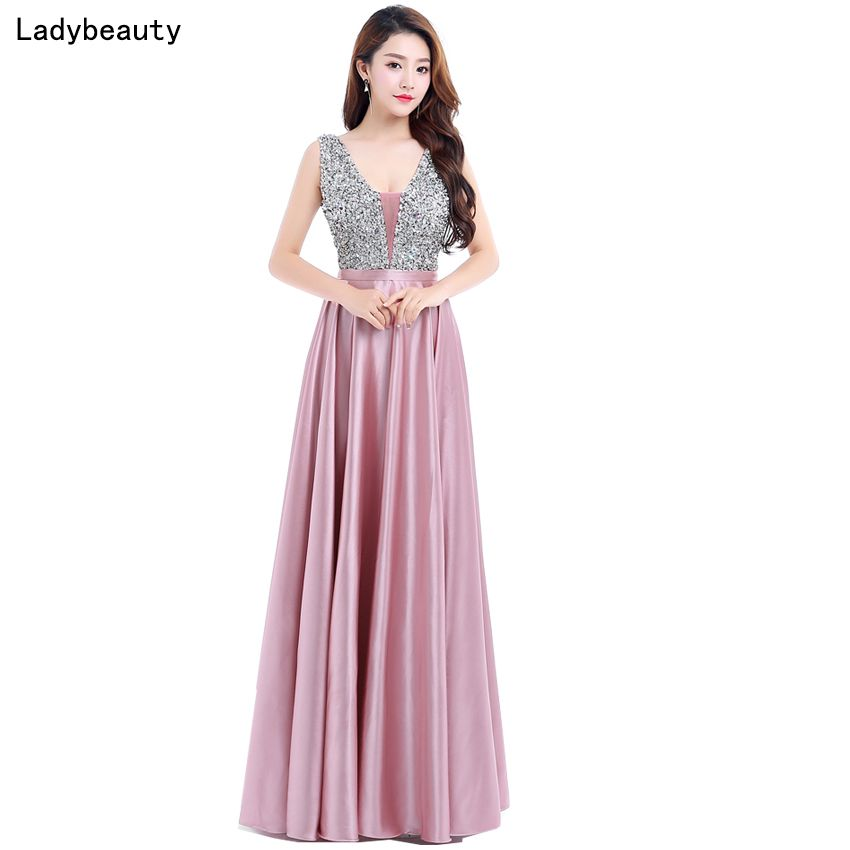 Ladybeauty New V-Neck Beads Bodice Open Back A Line Long Evening Dress Party Elegant Vestido De Festa Fast Shipping Prom Gown