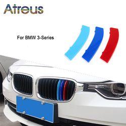 Atreus 3 unids 3D car Front Grille TRIM tiras del deporte cubierta Adhesivos para bmw e46 E90 F30 F34 e92 e93 3 series GT M potencia Accesorios