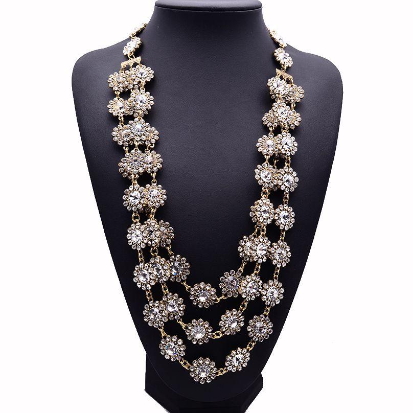 Новинка 2017 года Дизайн XG220 высокое качество длинный кристалл Ожерелья и Подвески Многослойные цветок заявление Цепочки и ожерелья ручной р...