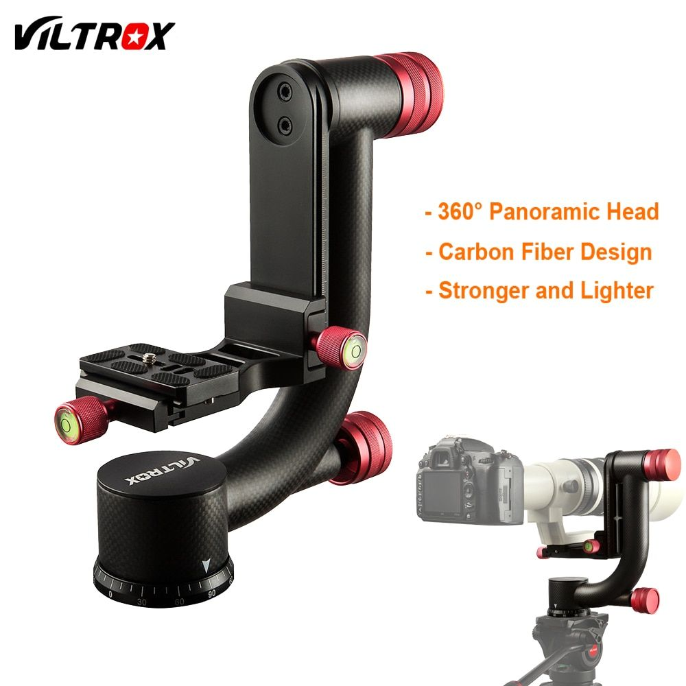 VILTROX VH-20 Carbon Fiber 360 Degree Panoramic Gimbal Tripod Head w/ 1/4'' Quick Release Plate For DSLR Camera Telephoto Lens