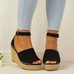 Mujer Sandalias 2018 verano Zapatos de plataforma sandalias 8 cm tacones altos Sandalias Zapatos Mujer Peep Toe cuñas zapatos para bombas de las mujeres
