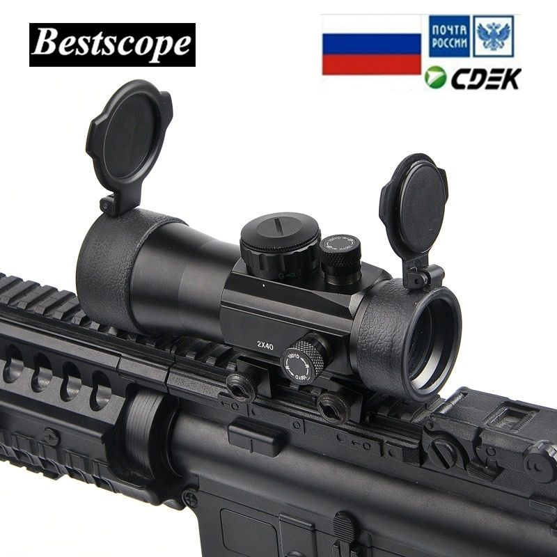 BU 2x40 Green Red Dot Sight Scope Tactical Optics Riflescope Fit Picatinny Rail Mount 20mm 11mm Rifle Scopes for Hunting