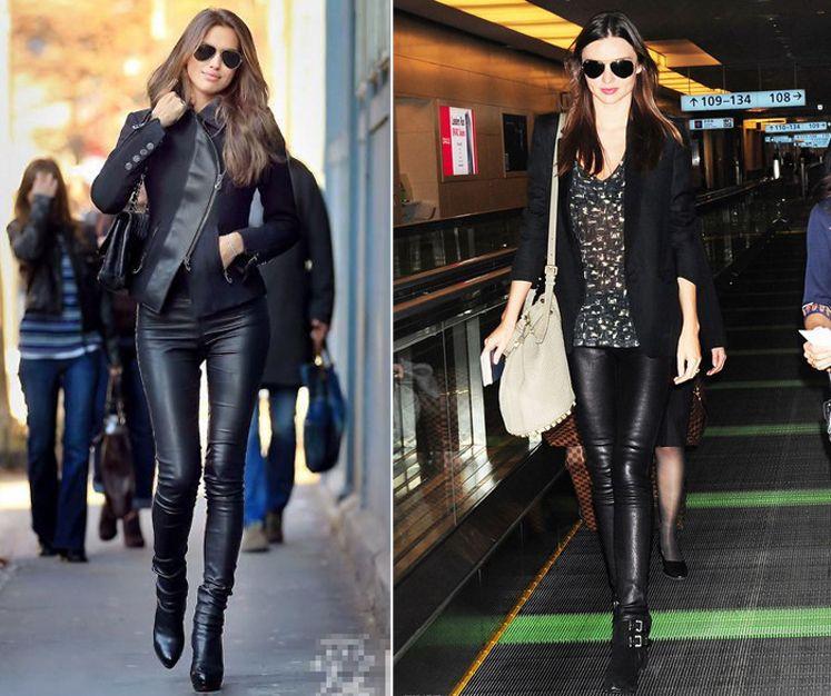 New Luxury Designer Italy Fashion 2018 Spring Women's Pants 100% Sheepskin Elastic Genuine Leather Full Pants Leggings