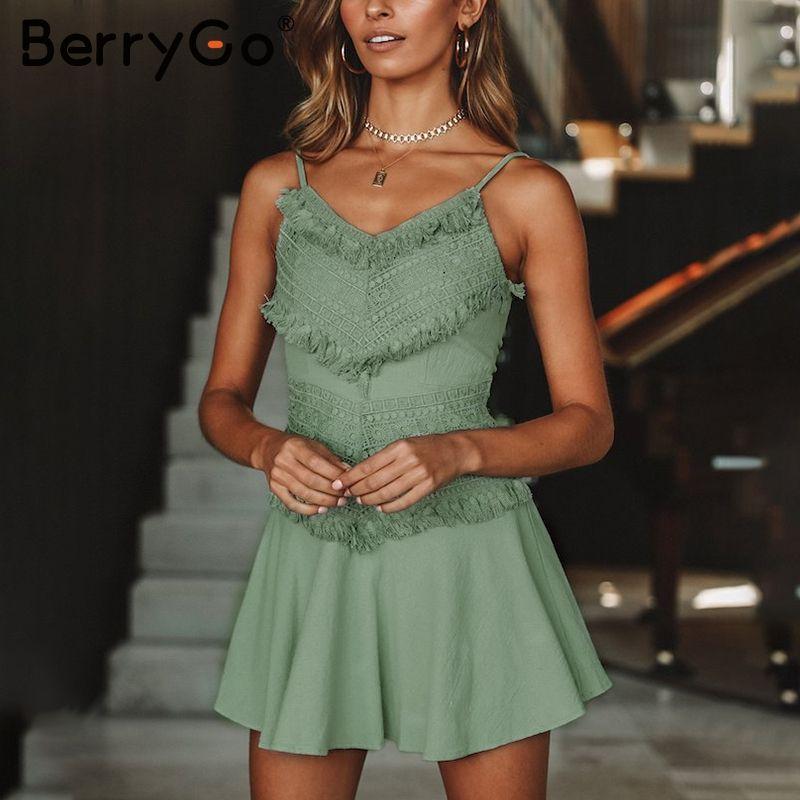 BerryGo Sexy backless bow spaghetti strap lace dress Women elegant tassel mini dress summer Beach casual sundress red dress 2018